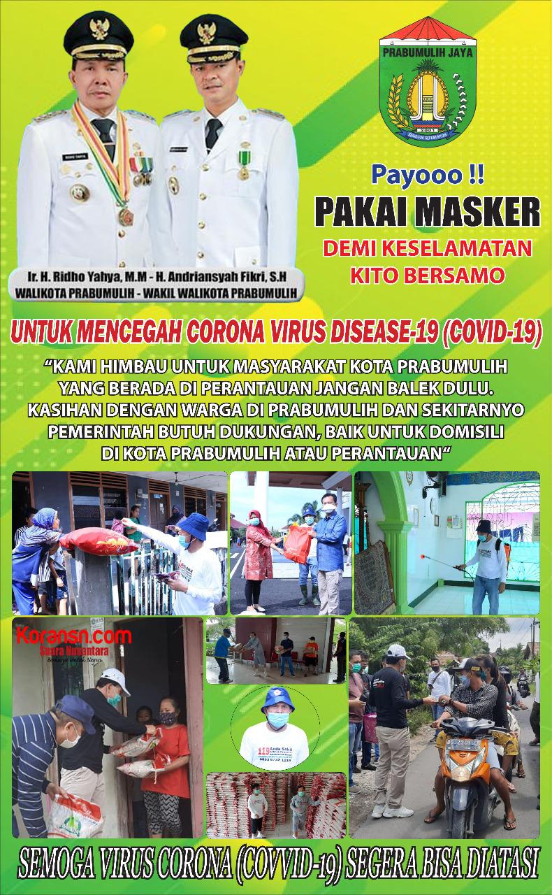 Pemerintah Kota Prabumulih Mengajak Pakai Masker